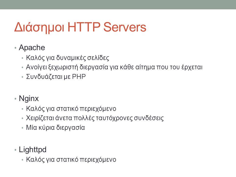 Διάσημοι HTTP Servers Apache Nginx Lighttpd