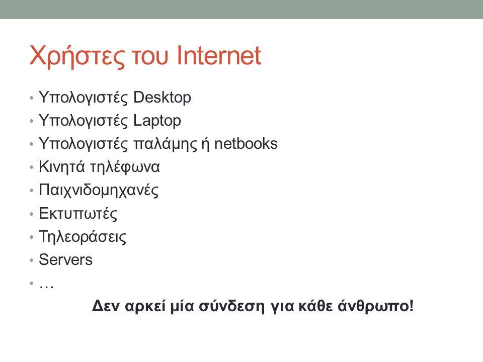 Χρήστες του Internet Υπολογιστές Desktop Υπολογιστές Laptop