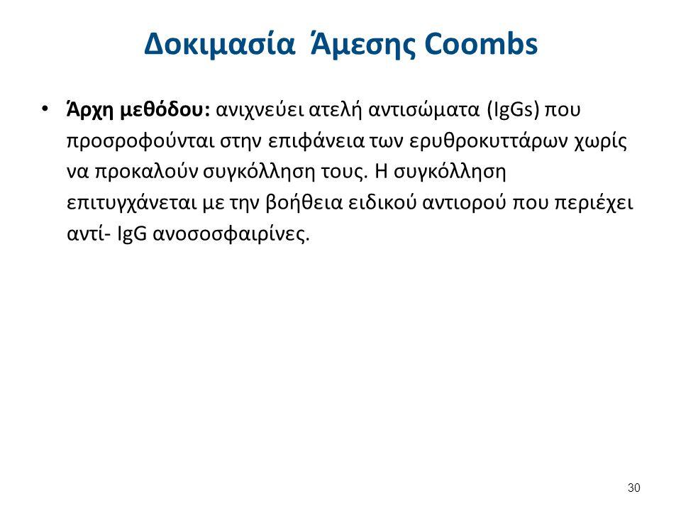 Υλικά και Μέθοδος Άμεσης Coombs