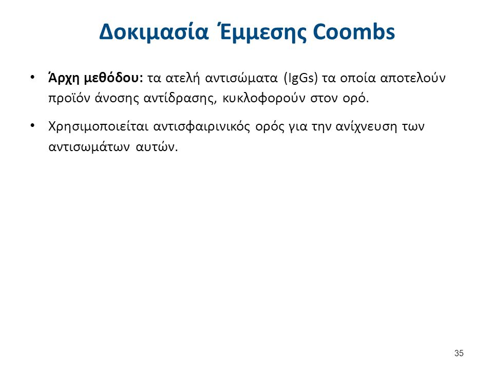 Υλικά και Μέθοδος Έμμεσης Coombs