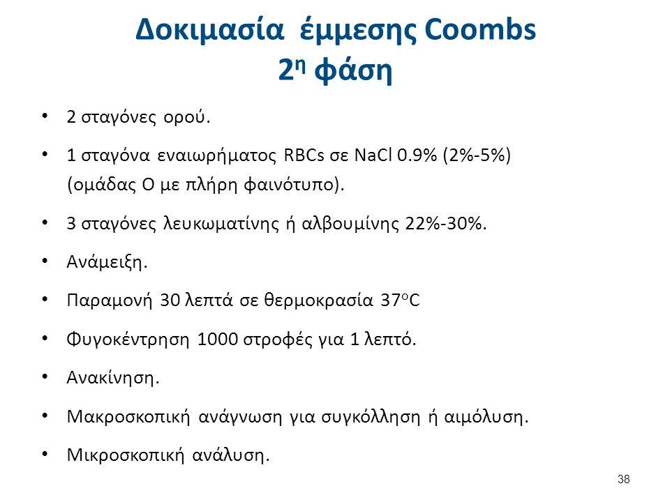 Δοκιμασία έμμεσης Coombs 3η φάση
