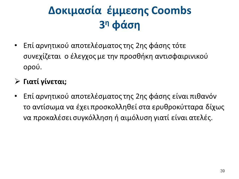 Δοκιμασία έμμεσης Coombs Συμπεράσματα