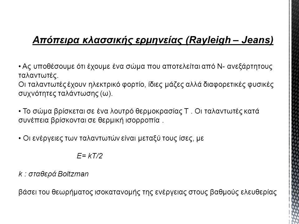 Απόπειρα κλασσικής ερμηνείας (Rayleigh – Jeans)