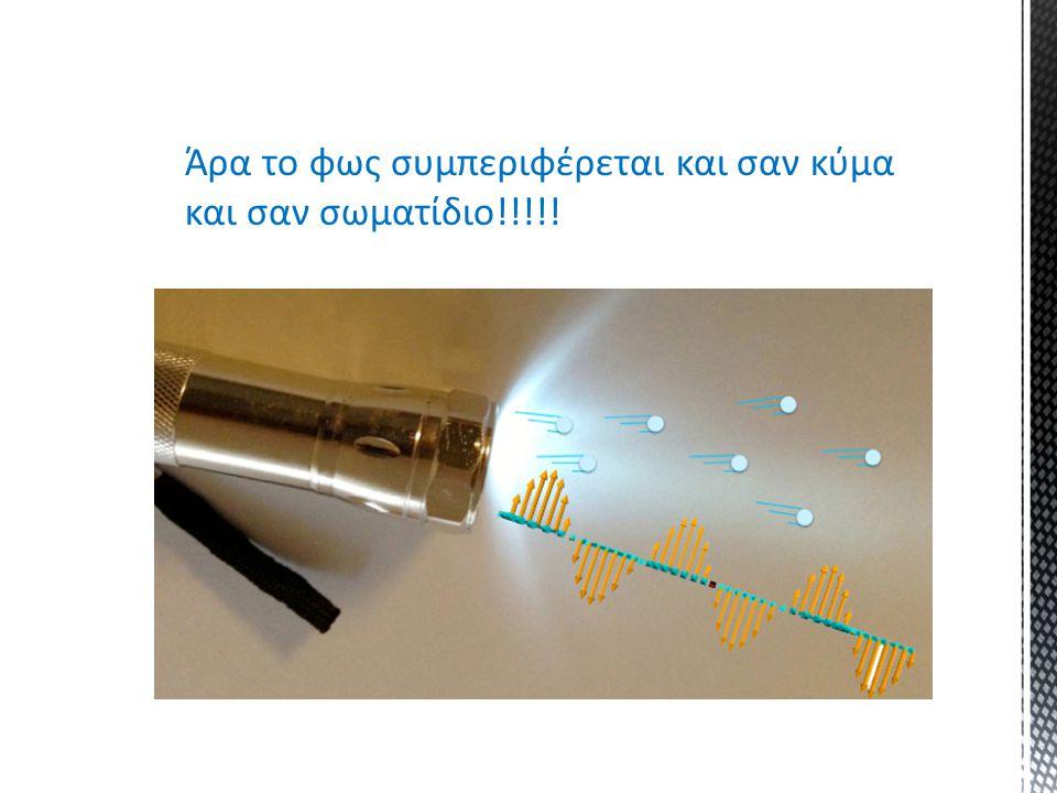 Άρα το φως συμπεριφέρεται και σαν κύμα και σαν σωματίδιο!!!!!