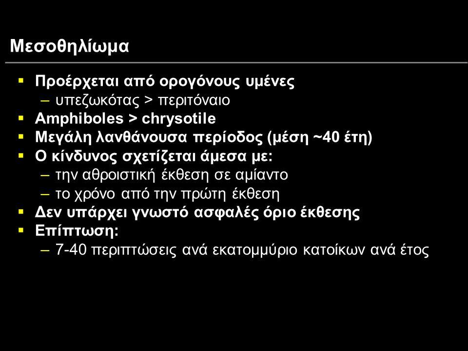 Μεσοθηλίωμα Προέρχεται από ορογόνους υμένες υπεζωκότας > περιτόναιο