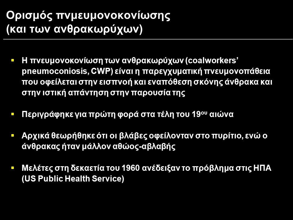 Ορισμός πνμευμονοκονίωσης (και των ανθρακωρύχων)