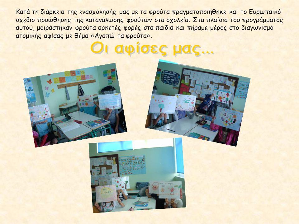 Κατά τη διάρκεια της ενασχόλησής μας με τα φρούτα πραγματοποιήθηκε και το Ευρωπαϊκό σχέδιο προώθησης της κατανάλωσης φρούτων στα σχολεία. Στα πλαίσια του προγράμματος αυτού, μοιράστηκαν φρούτα αρκετές φορές στα παιδιά και πήραμε μέρος στο διαγωνισμό ατομικής αφίσας με θέμα «Αγαπώ τα φρούτα».