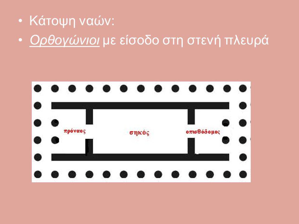 Κάτοψη ναών: Ορθογώνιοι με είσοδο στη στενή πλευρά