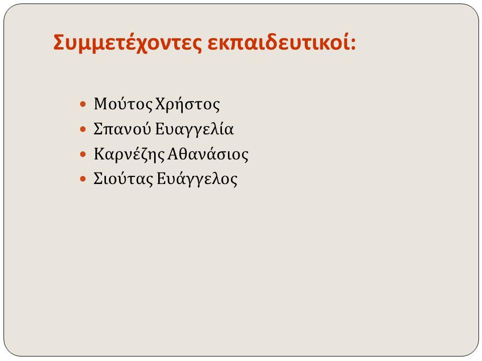 Συμμετέχοντες εκπαιδευτικοί:
