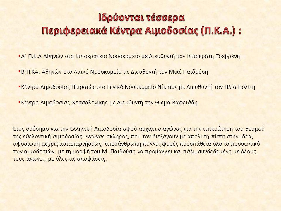 Περιφερειακά Κέντρα Αιμοδοσίας (Π.Κ.Α.) :