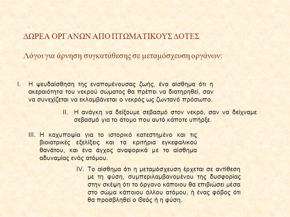 ΔΩΡΕΑ ΟΡΓΑΝΩΝ ΑΠΟ ΠΤΩΜΑΤΙΚΟΥΣ ΔΟΤΕΣ