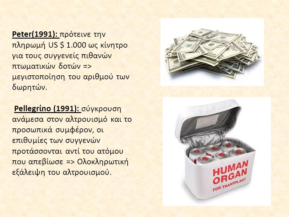 Peter(1991): πρότεινε την πληρωμή US $ 1