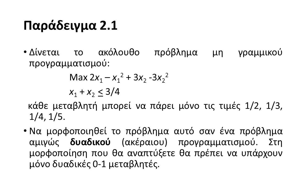 Παράδειγμα 2.1 Δίνεται το ακόλουθο πρόβλημα μη γραμμικού προγραμματισμού: Max 2x1 – x12 + 3x2 -3x22.