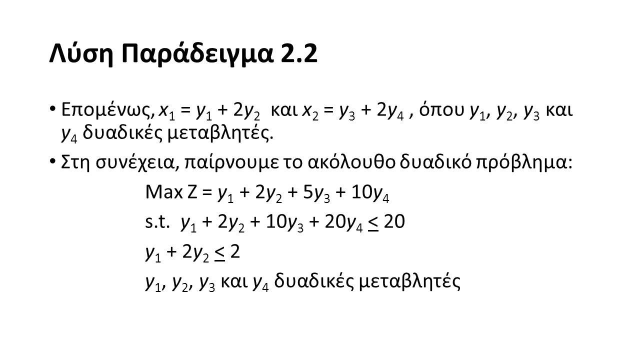 Λύση Παράδειγμα 2.2 Επομένως, x1 = y1 + 2y2 και x2 = y3 + 2y4 , όπου y1, y2, y3 και y4 δυαδικές μεταβλητές.