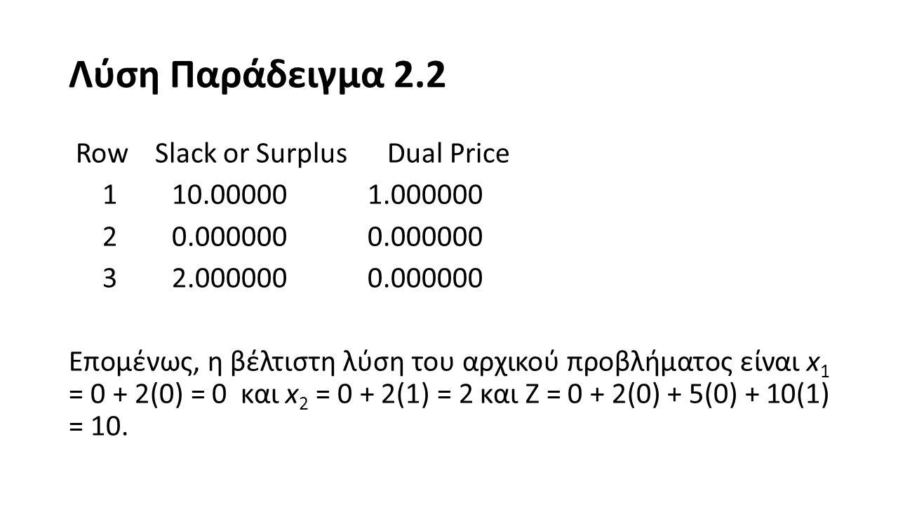 Λύση Παράδειγμα 2.2
