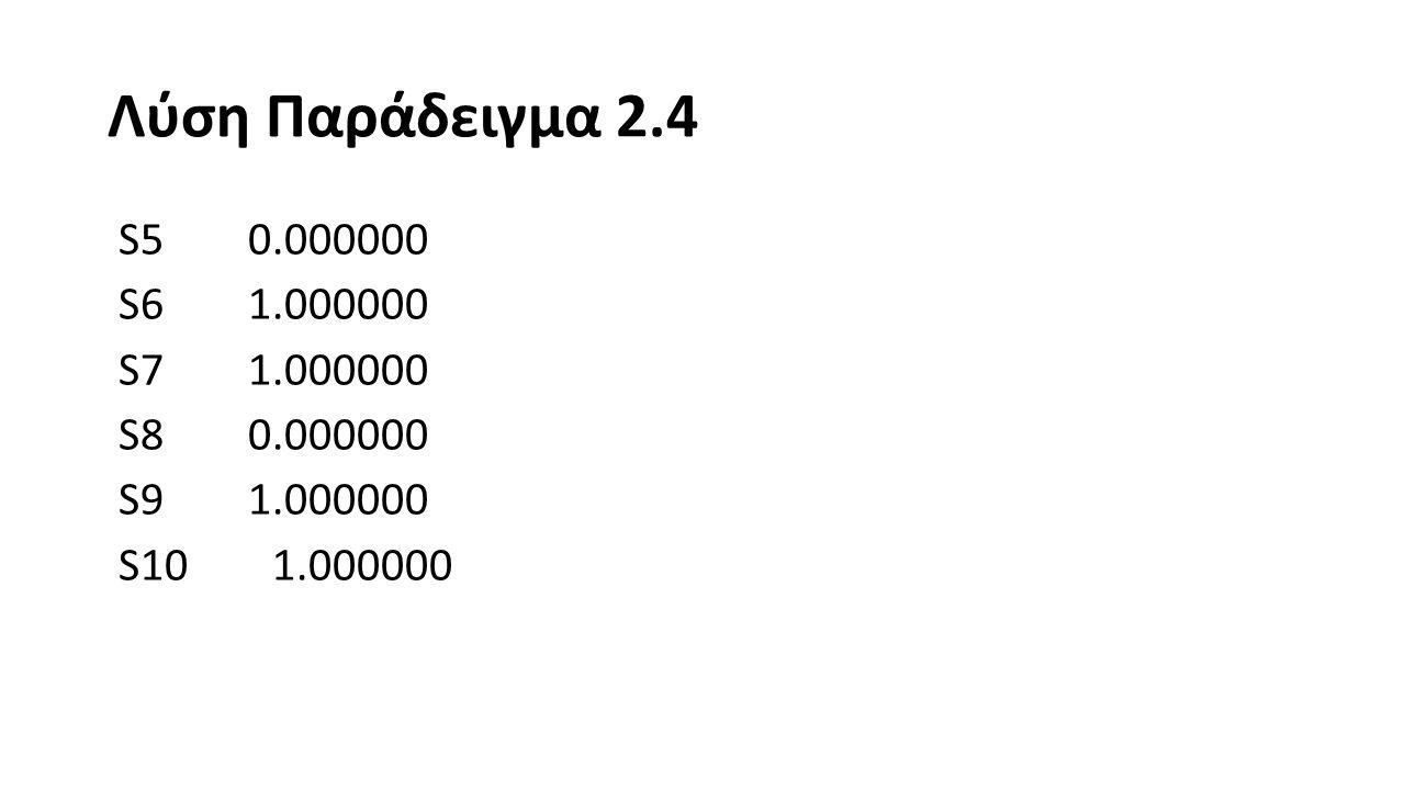 Λύση Παράδειγμα 2.4 S5 0.000000 S6 1.000000 S7 1.000000 S8 0.000000 S9 1.000000 S10 1.000000