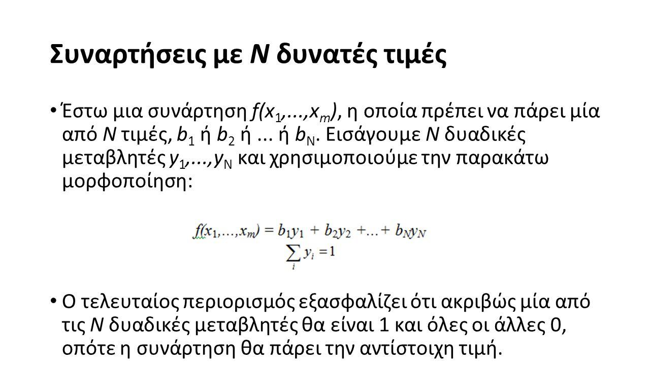 Συναρτήσεις με N δυνατές τιμές