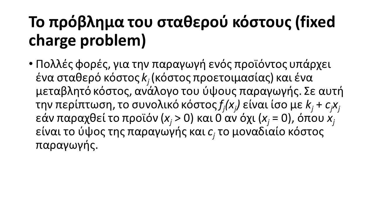 Το πρόβλημα του σταθερού κόστους (fixed charge problem)