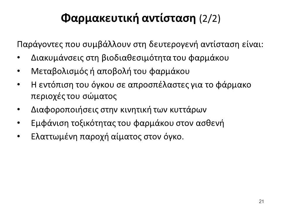 Κατηγορίες φαρμακευτικής αντίστασης (1/3)