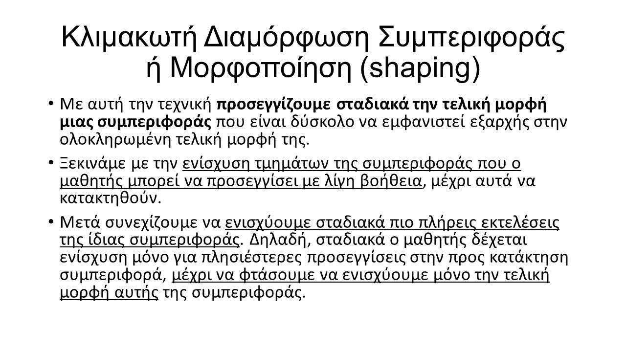 Κλιμακωτή Διαμόρφωση Συμπεριφοράς ή Μορφοποίηση (shaping)