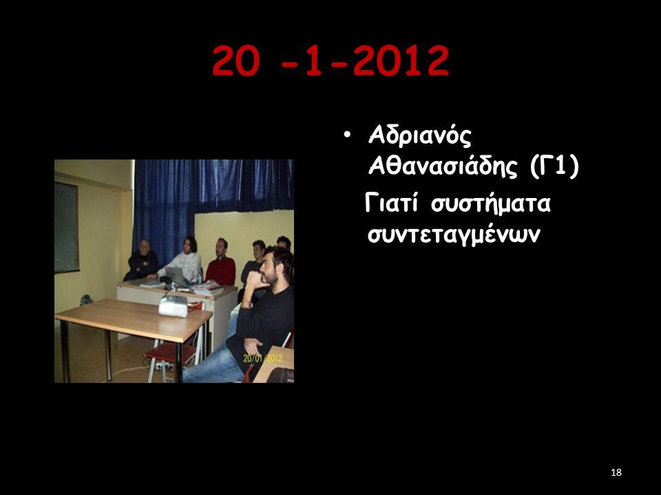 20 -1-2012 Αδριανός Αθανασιάδης (Γ1) Γιατί συστήματα συντεταγμένων