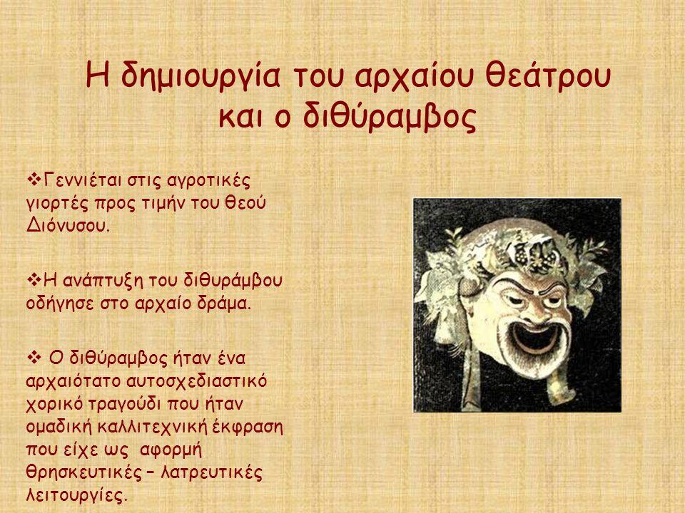 Η δημιουργία του αρχαίου θεάτρου και ο διθύραμβος