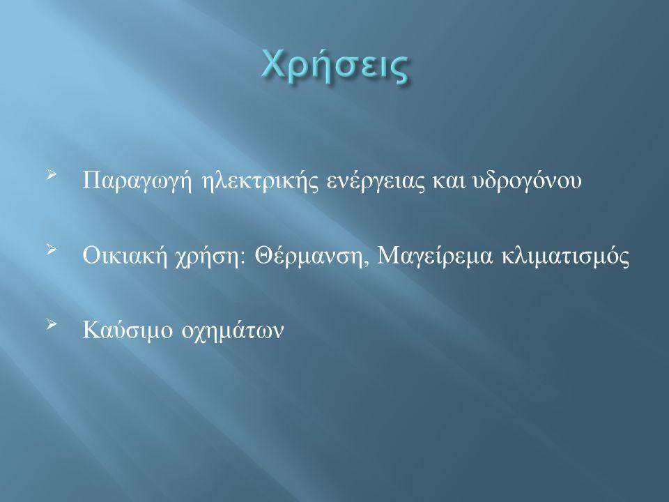 Χρήσεις Παραγωγή ηλεκτρικής ενέργειας και υδρογόνου