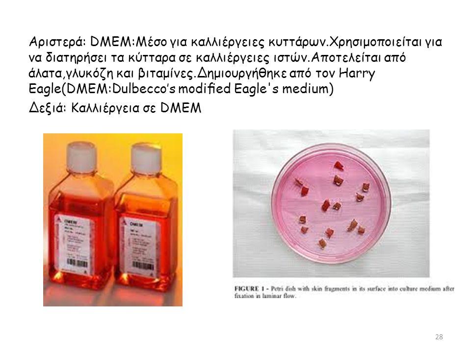 Αριστερά: DMEM:Μέσο για καλλιέργειες κυττάρων