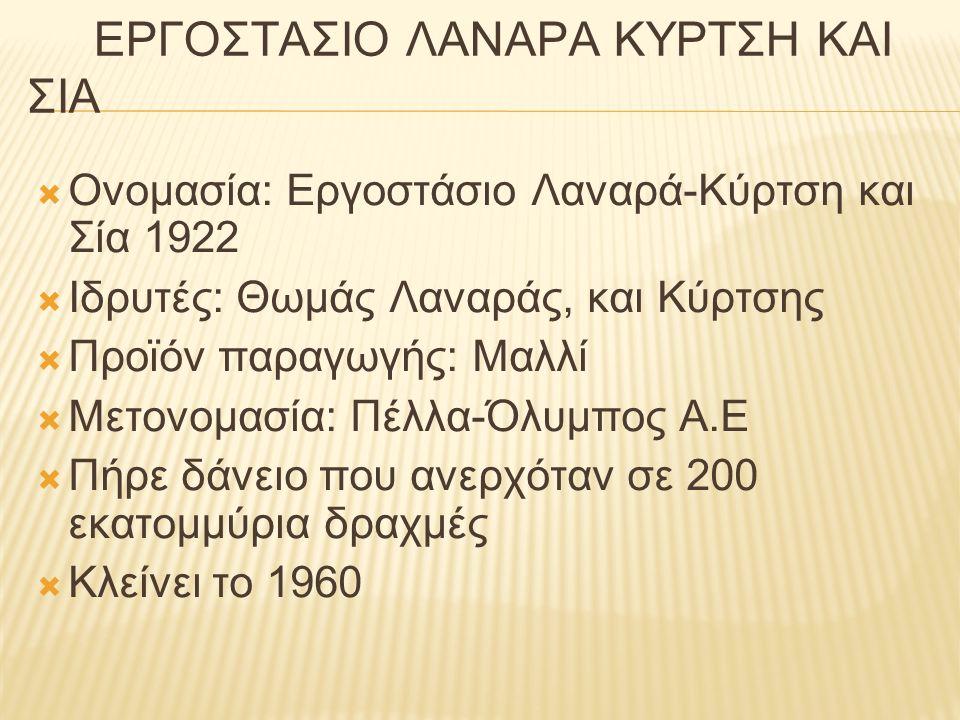 ΕΡΓΟΣΤΑΣΙΟ ΛΑΝΑΡΑ ΚΥΡΤΣΗ ΚΑΙ ΣΙΑ