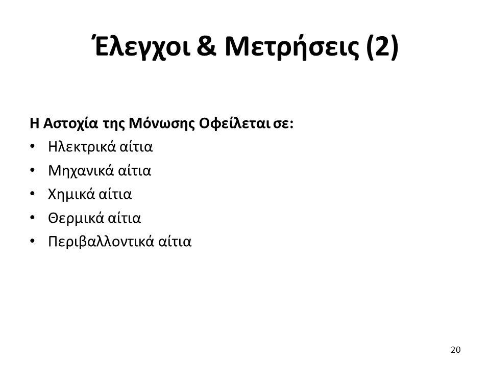 Έλεγχοι & Μετρήσεις (2) Η Αστοχία της Μόνωσης Οφείλεται σε: