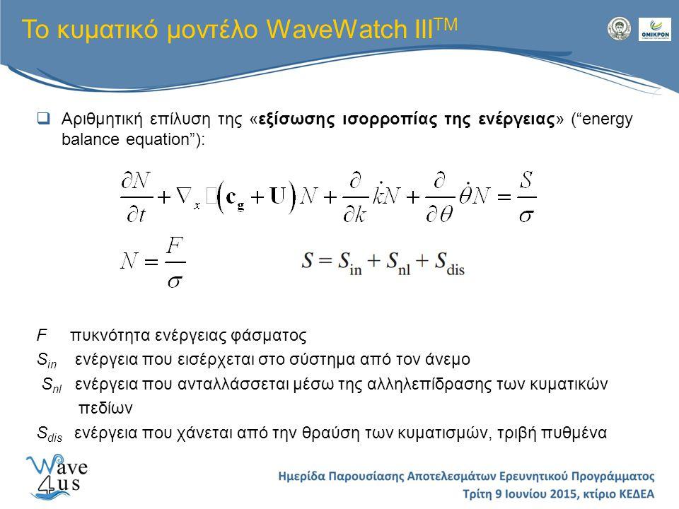 Το κυματικό μοντέλο WaveWatch IIITM