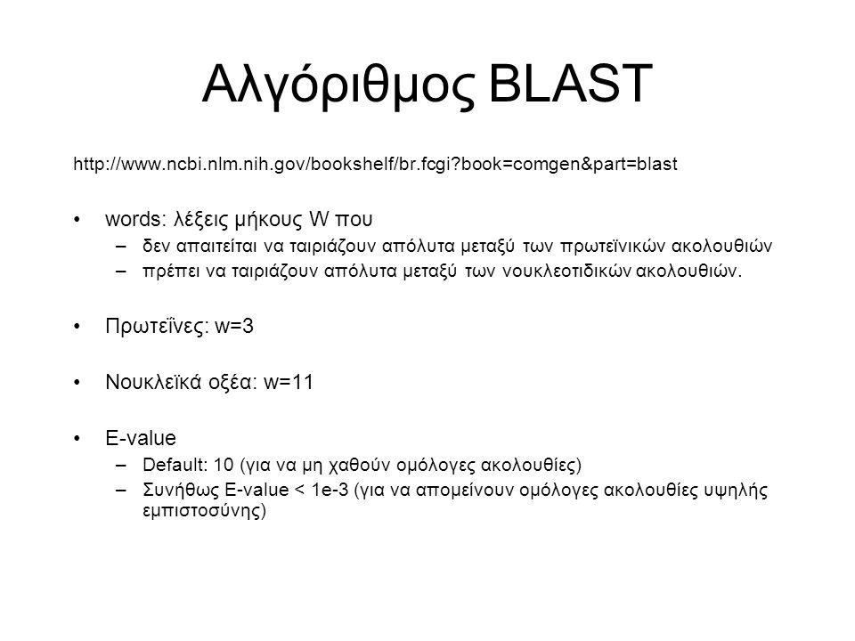 Αλγόριθμος BLAST words: λέξεις μήκους W που Πρωτεΐνες: w=3