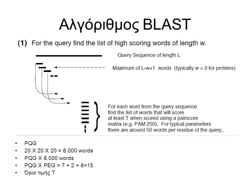 Αλγόριθμος BLAST PQG 20 X 20 X 20 = 8.000 words PQG X 8.000 words