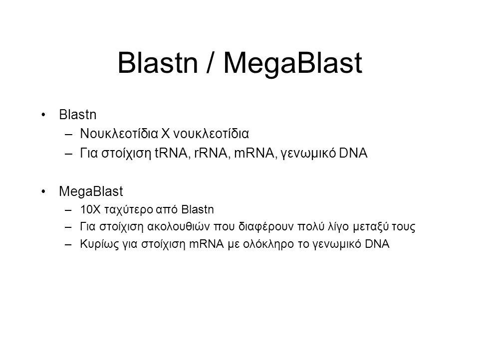 Blastn / MegaBlast Blastn Νουκλεοτίδια Χ νουκλεοτίδια