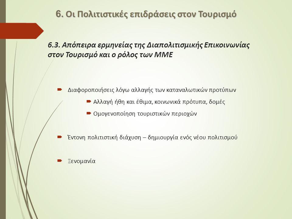 6. Οι Πολιτιστικές επιδράσεις στον Τουρισμό
