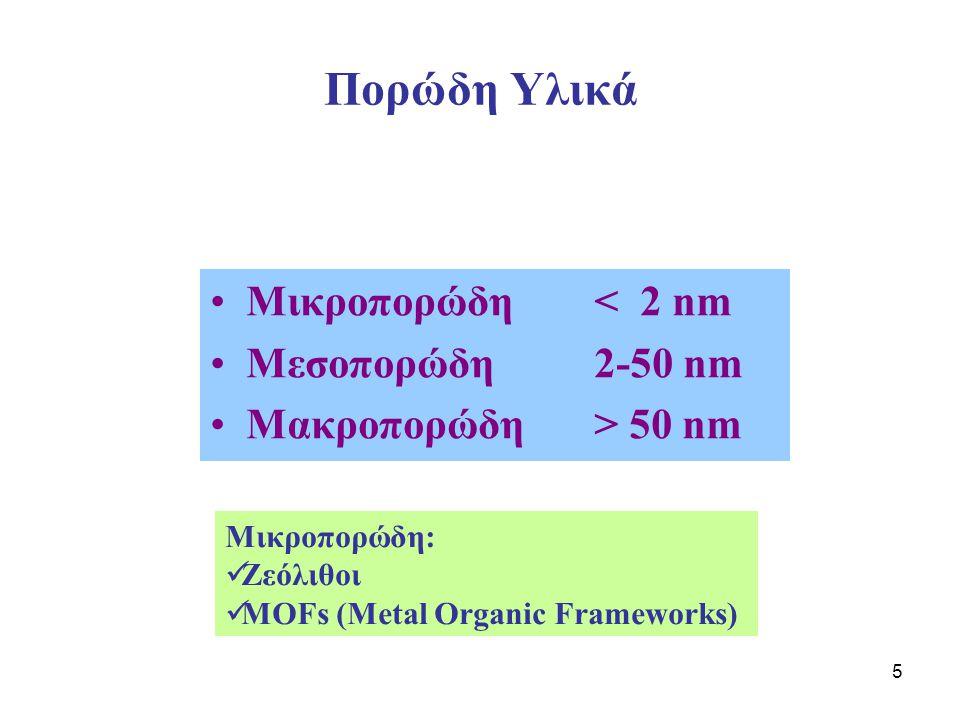 Πορώδη Υλικά Μικροπορώδη < 2 nm Μεσοπορώδη 2-50 nm