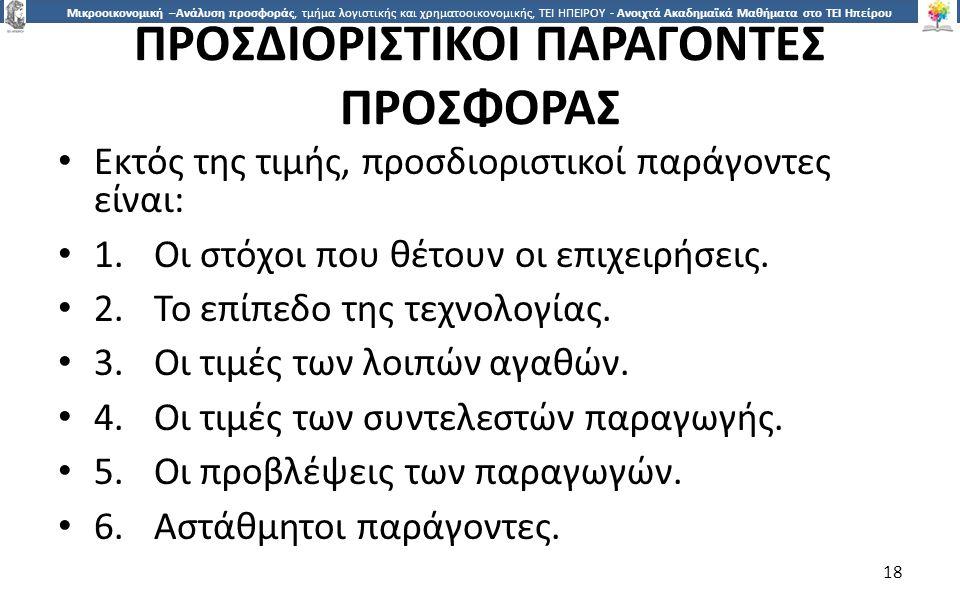 ΠΡΟΣΔΙΟΡΙΣΤΙΚΟΙ ΠΑΡΑΓΟΝΤΕΣ ΠΡΟΣΦΟΡΑΣ