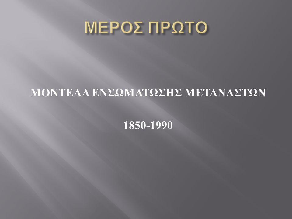 ΜΟΝΤΕΛΑ ΕΝΣΩΜΑΤΩΣΗΣ ΜΕΤΑΝΑΣΤΩΝ