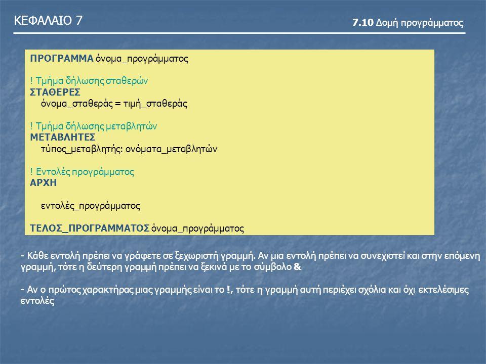 ΚΕΦΑΛΑΙΟ 7 7.10 Δομή προγράμματος ΠΡΟΓΡΑΜΜΑ όνομα_προγράμματος