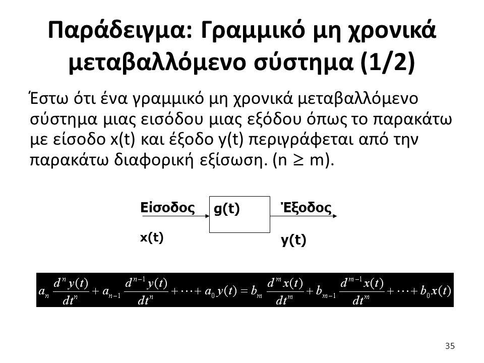 Παράδειγμα: Γραμμικό μη χρονικά μεταβαλλόμενο σύστημα (1/2)