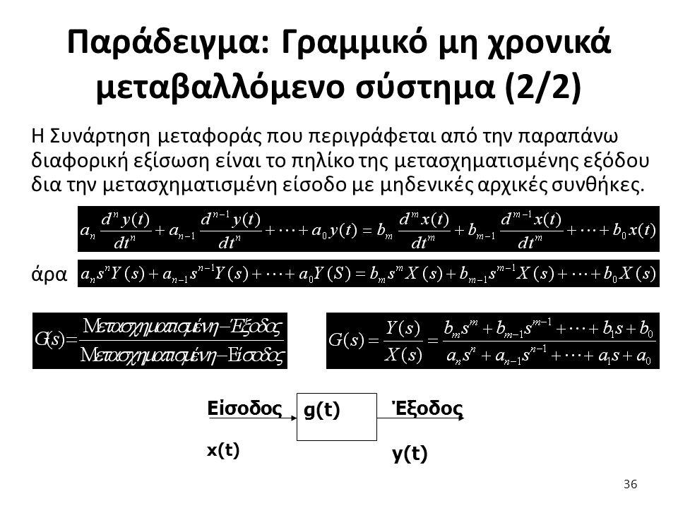 Παράδειγμα: Γραμμικό μη χρονικά μεταβαλλόμενο σύστημα (2/2)