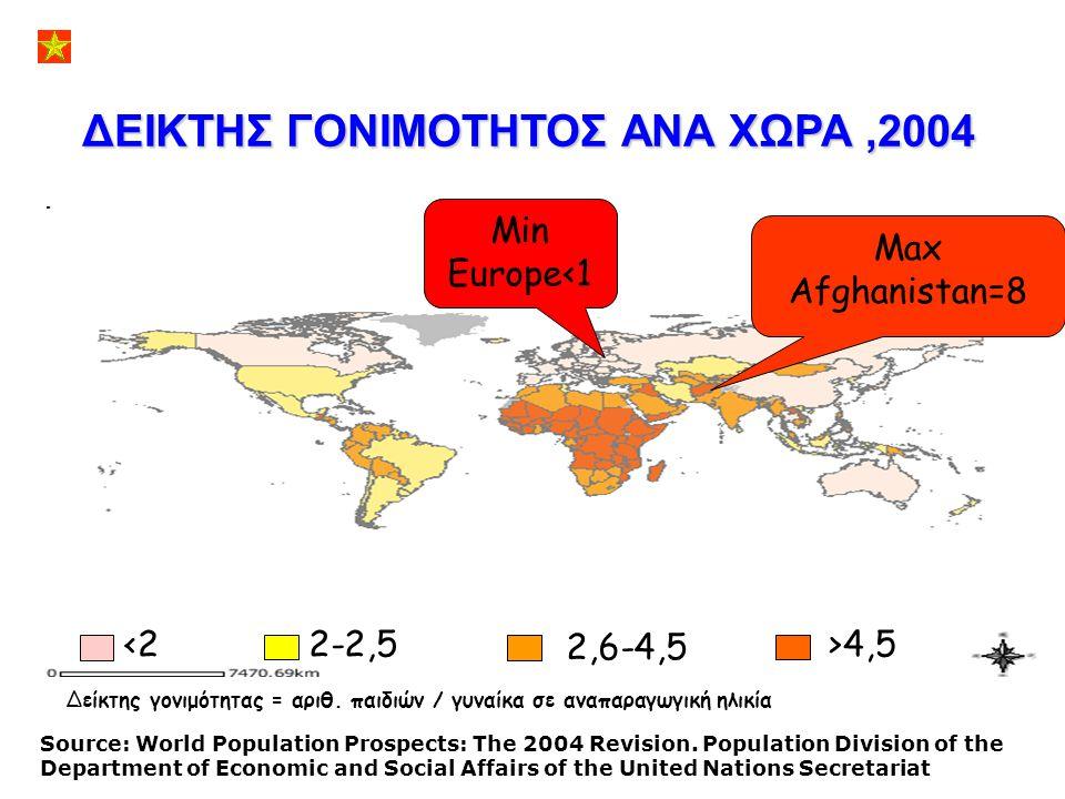 ΔΕΙΚΤΗΣ ΓΟΝΙΜΟΤΗΤΟΣ ΑΝΑ ΧΩΡΑ ,2004