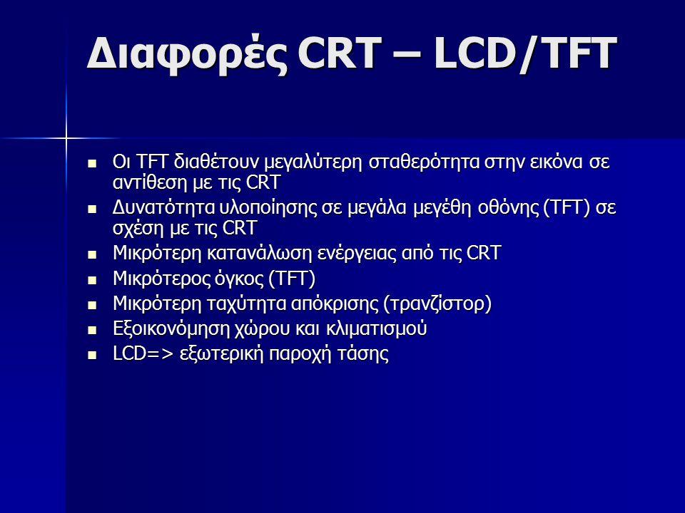 Διαφορές CRT – LCD/TFT Oι TFT διαθέτουν μεγαλύτερη σταθερότητα στην εικόνα σε αντίθεση με τις CRT.