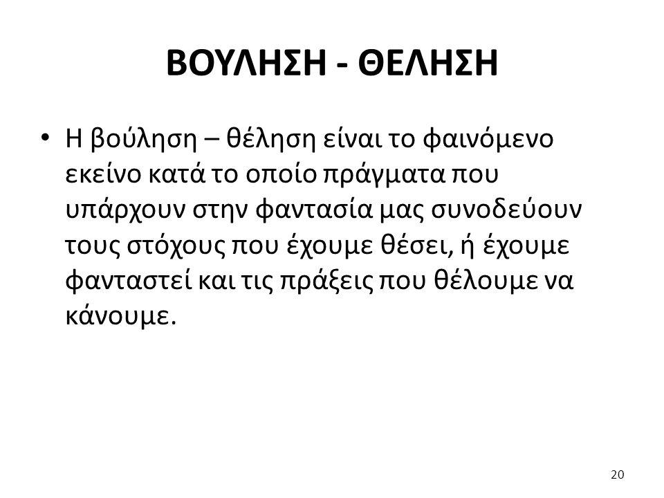 ΒΟΥΛΗΣΗ - ΘΕΛΗΣΗ