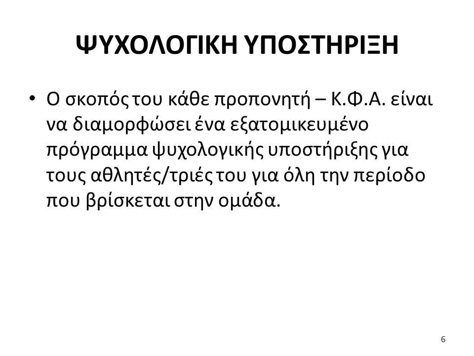 ΨΥΧΟΛΟΓΙΚΗ ΥΠΟΣΤΗΡΙΞΗ