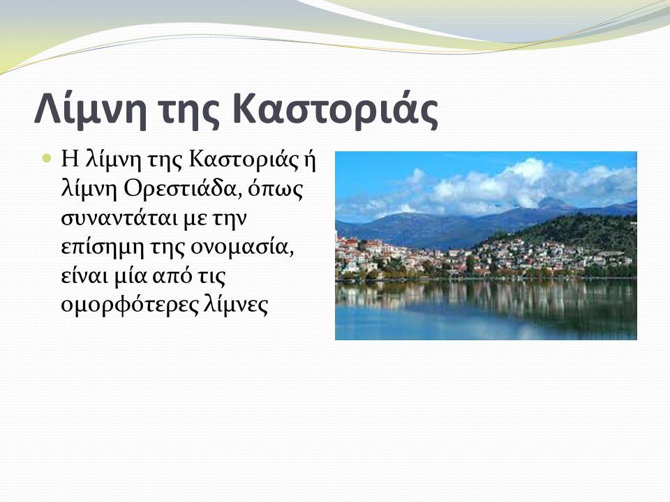 Λίμνη της Καστοριάς Η λίμνη της Καστοριάς ή λίμνη Ορεστιάδα, όπως συναντάται με την επίσημη της ονομασία, είναι μία από τις ομορφότερες λίμνες.