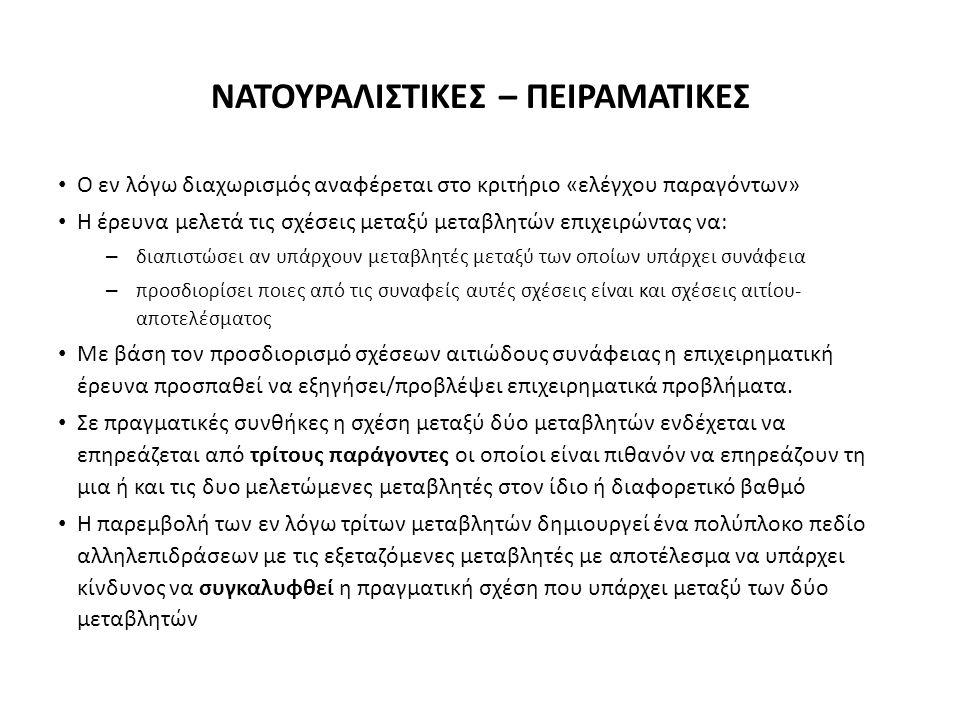 ΝΑΤΟΥΡΑΛΙΣΤΙΚΕΣ – ΠΕΙΡΑΜΑΤΙΚΕΣ