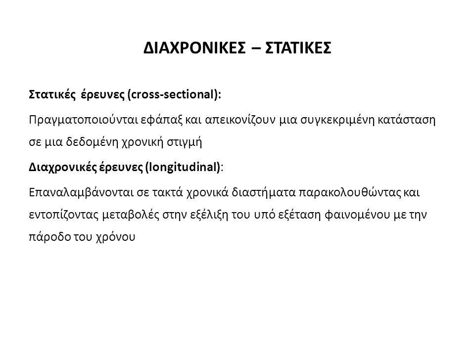 ΔΙΑΧΡΟΝΙΚΕΣ – ΣΤΑΤΙΚΕΣ