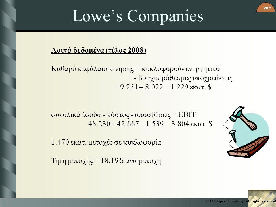Lowe's Companies Λοιπά δεδομένα (τέλος 2008)