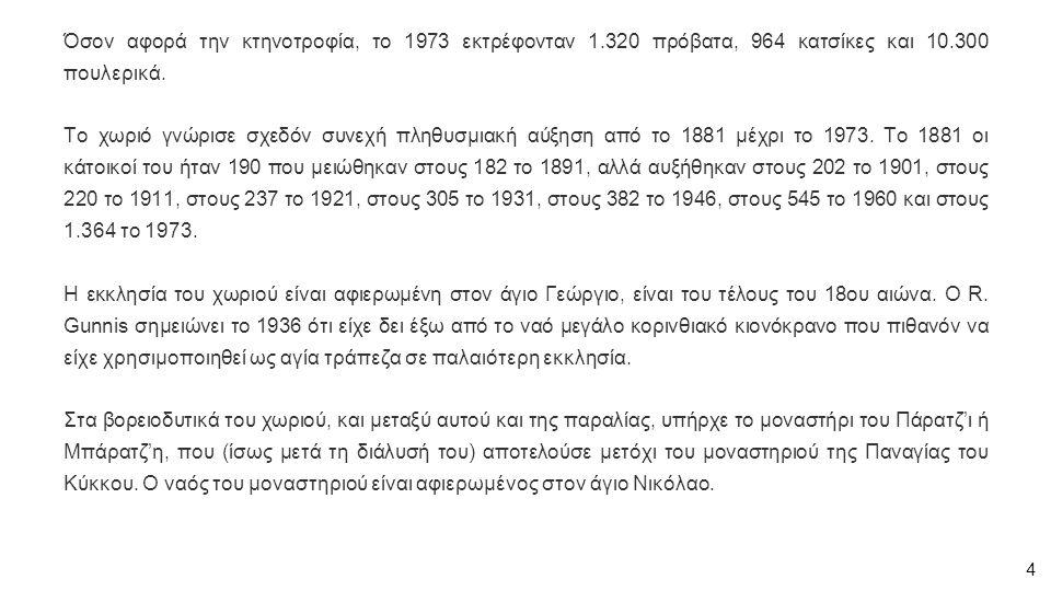 Όσον αφορά την κτηνοτροφία, το 1973 εκτρέφονταν 1